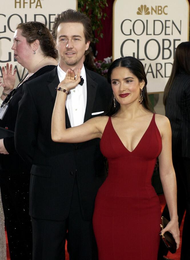 <strong>EKSER:</strong> Salma Hayek og Edward Norton kom sammen på Golden Globe i januar 2003. Foto: Mark J. Terrill/ AP/ NTB scanpix