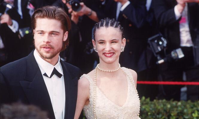 <strong>UNGT PAR:</strong> Brad Pitt og Juliette Lewis kom sammen på Oscar-utdelinga i mars 1992. Foto: Reed Saxon/ AP/ NTB scanpix &nbsp; &nbsp; &nbsp; &nbsp;&nbsp;