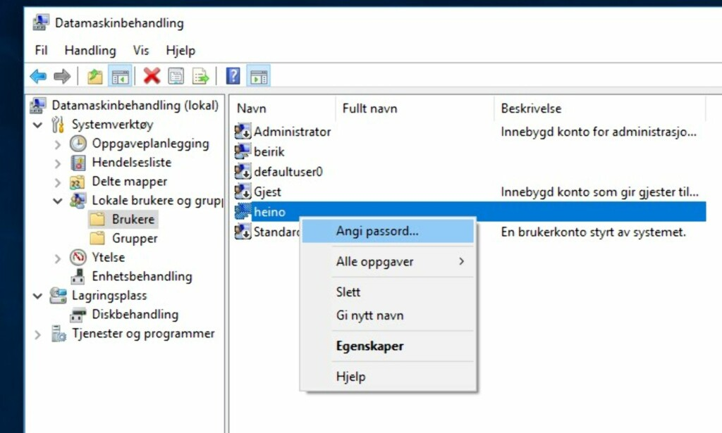 SETT PASSORD PÅ NYTT: Via datamaskinbehandling kan du overstyre passordet til de forskjellige brukerne av PC-en, hvis du har administratorrettigheter. Skjermdump: Dinside