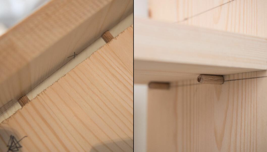 <strong>FESTE:</strong> Til venstre er det boret hull i begge delene og pluggen festes med lim. Til høyre er det kun hull der pluggene festes. Lager man flere slike, kan hyllen flyttes opp og ned. FOTO: Simen Søvik