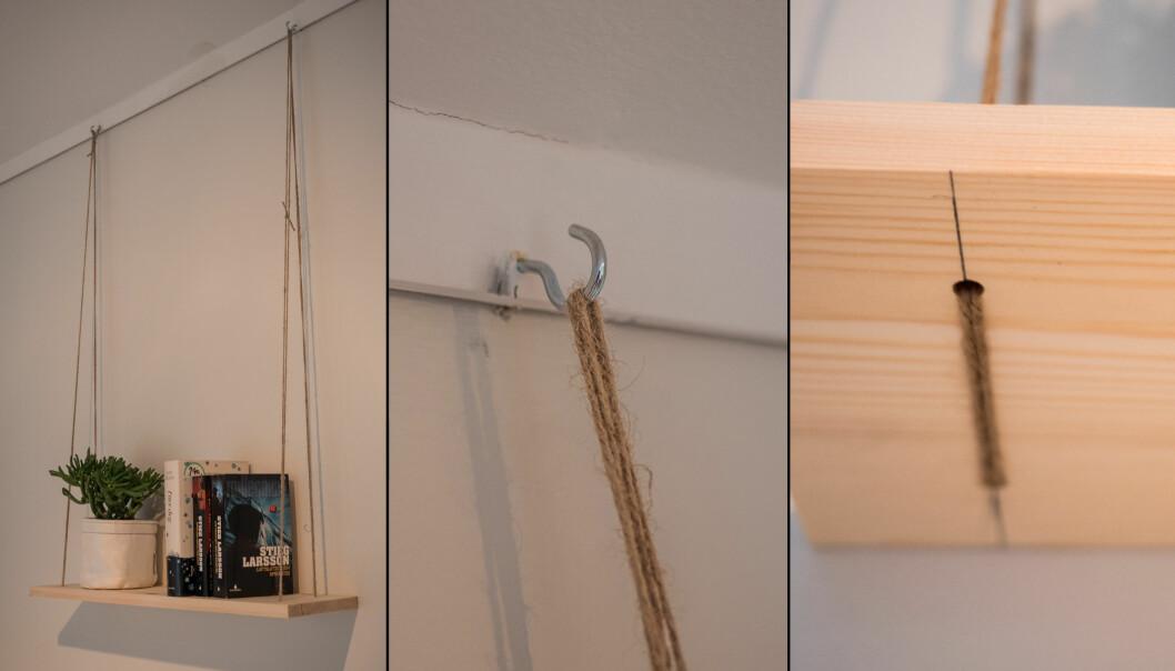<strong>HENGEHYLLE:</strong> Det skal ikke mye til for å lage en hylle som fungerer. Den kan festes hvor som helst på veggen med kroker. Men sjekk at veggen og krokene tåler vekten av hyllen. FOTO: Simen Søvik