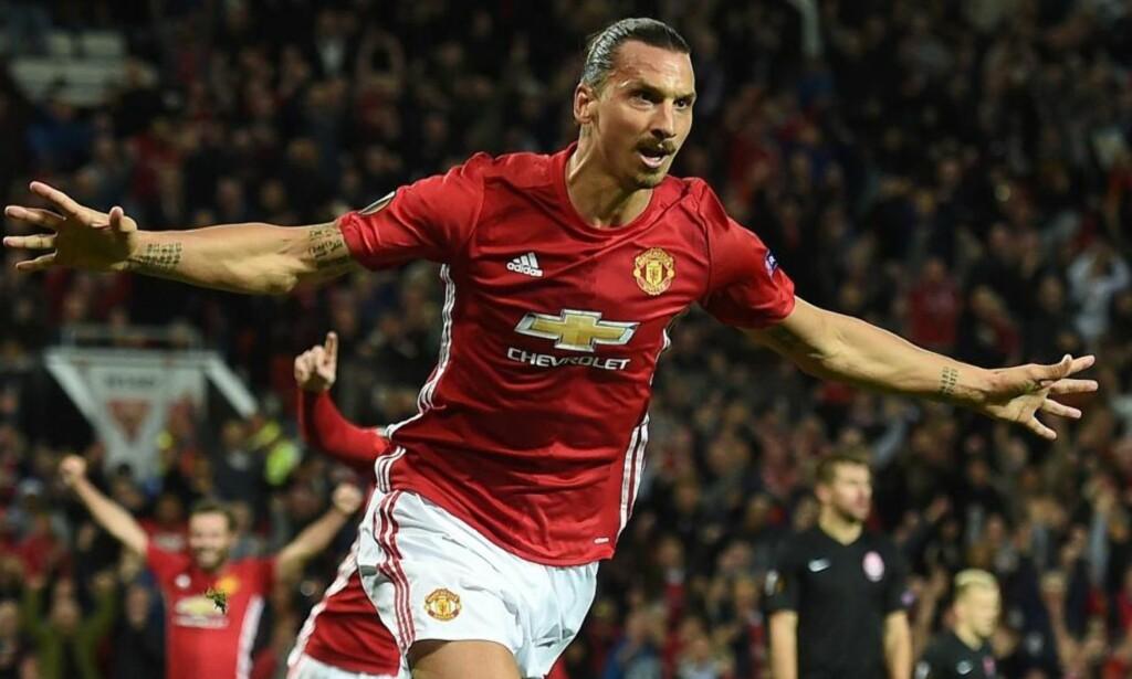 EN EKTE VINNER: Zlatan Ibrahimovic har scoret 3-2 målet og avgjort ligacupfinalen for Manchester United. Selvfølgelig har han det, han er jo Zlatan. Foto: NTB Scanpix