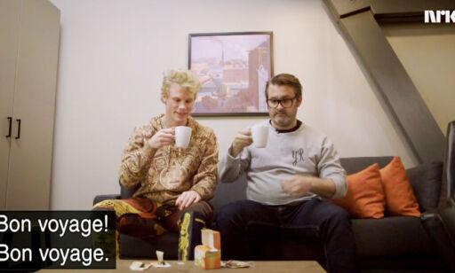 image: Her drikker Seltzer fleinsopp-te på tv. Var ikke godkjent av NRK