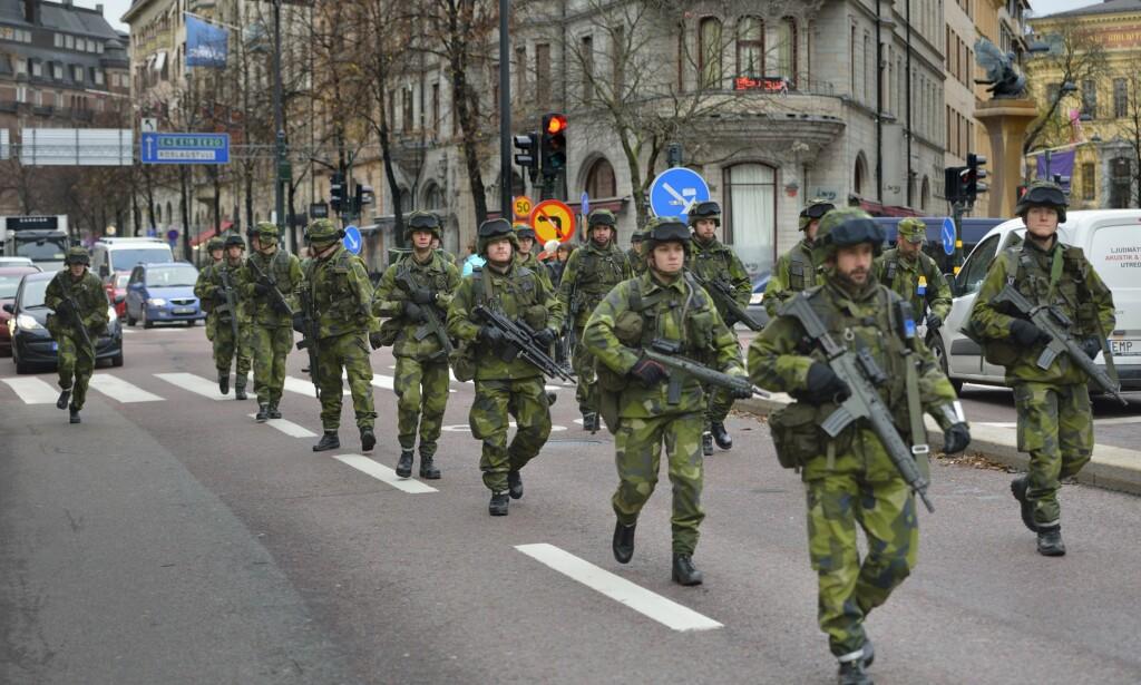 SVERIGE: Det svenske forsvaret under en øvelse i Stockholm-området i 2014. Foto: Henrik Montgomery / NTB scanpix