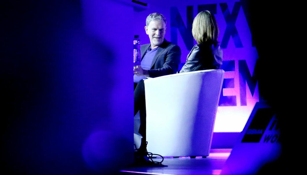 <strong>NETFLIX-SJEF:</strong> Reed Hastings ble intervjuet av BBCs Francine Stock under Mobile World Congress i Barcelona. Foto: Ole Petter Baugerød Stokke
