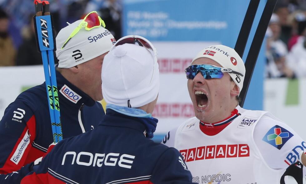 VM-HELTENE SLITER: Både Didrik Tønseth, Niklas Dyrhaug og Finn Hågen Krogh sliter med å finne formen bare et snaut år etter at de opplevde sine største øyeblikk som langrennsløpere med VM-gullet i stafett i Lahti. Det åpner for et avgjørende NM om snaue to uker FOTO: Lise Åserud / NTB scanpix