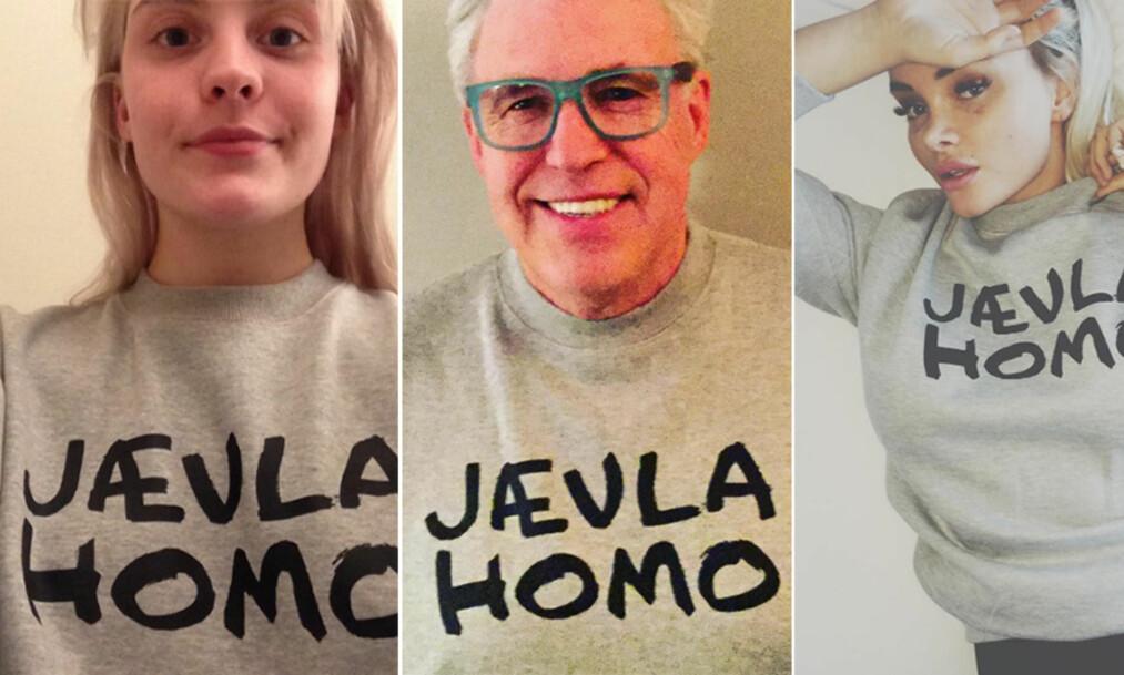 JÆVLA HOMO: En rekke norske kjendiser har i dag lastet opp bilder i sosiale medier, hvor de er iført plagg med dette uttrykket. Dét er ikke tilfeldig. Foto: Privat / Instagram