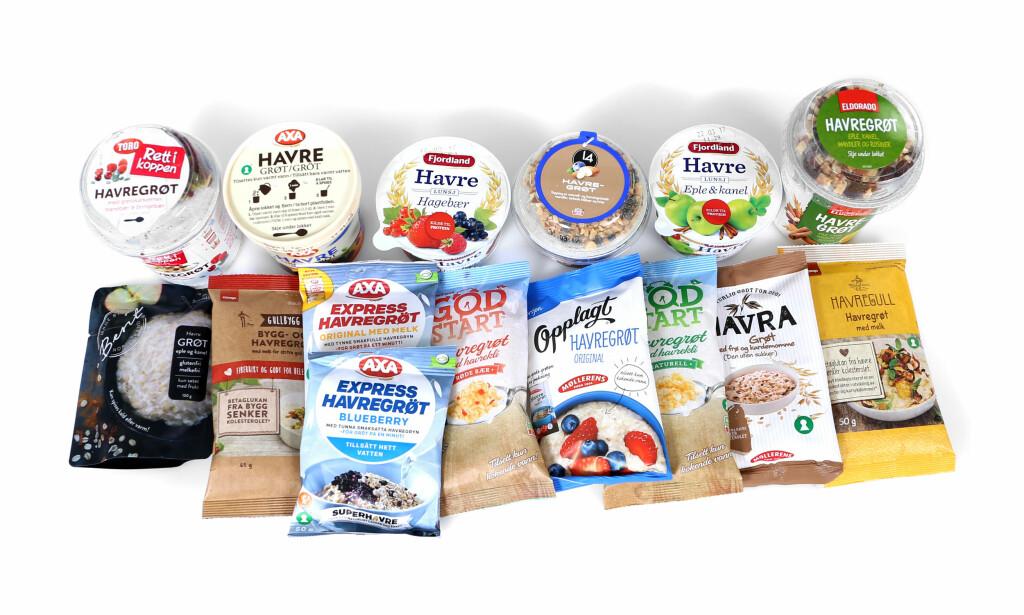 HAVREGRØT: Det er stor forskjell på sukkerinnholdet i havregrøt i porsjonspakninger, viser vår ernæringstest. Foto: Erik Helgeneset / Bramat.no