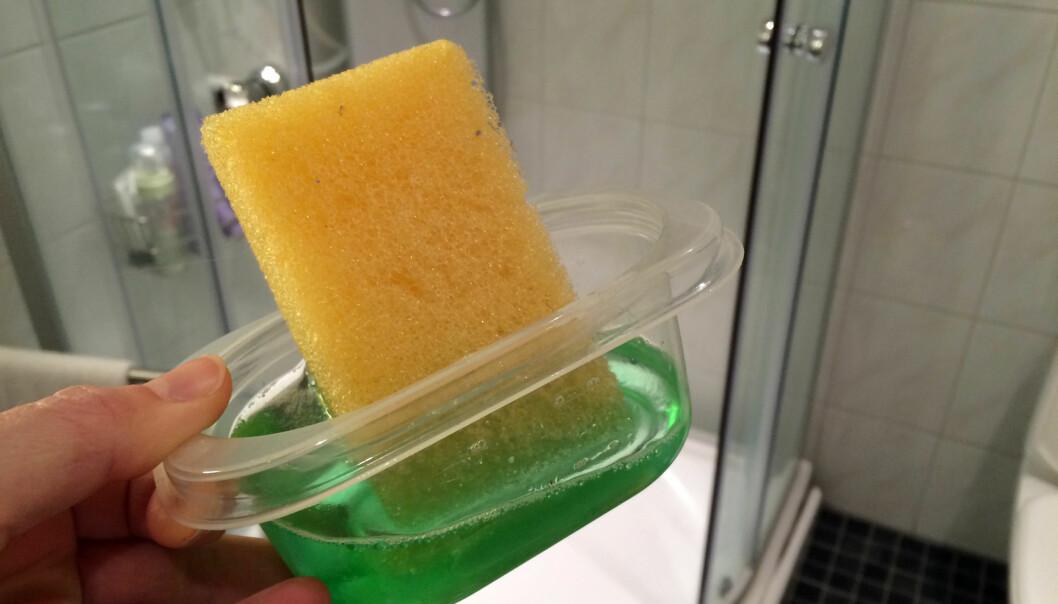 <strong>KJAPT OG EFFEKTIVT:</strong> Denne blandingen er blant våre beste tips hvis du vil ha unna vaskingen av badet i en fei. Foto: Kristin Sørdal.&nbsp;