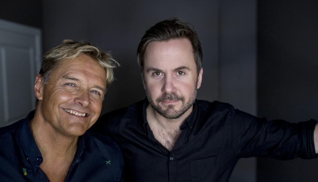 <strong>GODE VENNER:</strong> Dag Otto Lauritzen og Kristian Ødegård fremstår som erteris på skjermen. Vennskapet oppstod for hele syv år siden. Foto: Sveinung Uddu Ystad