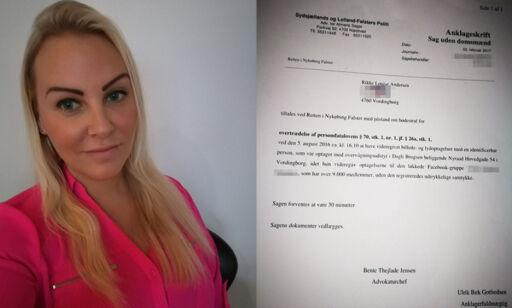 image: Rikke ble tiltalt for å dele bilder av mannen som blottet seg for datteren. I dag falt dommen