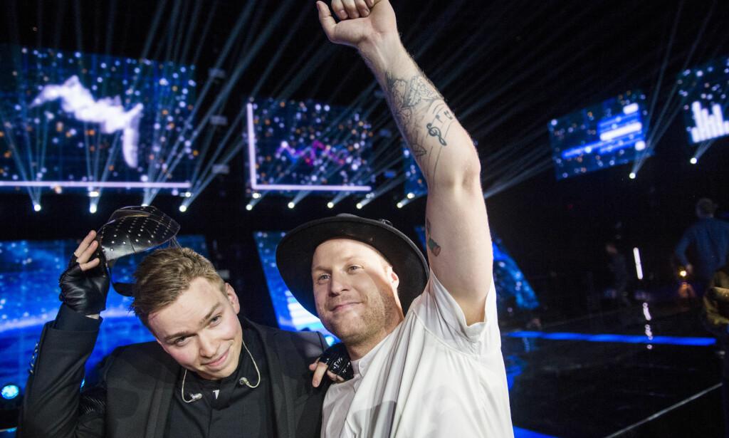 TIL KIEV: JOWST vant finalen i Melodi Grand Prix Finale 2017 lørdag kveld. Foto: Fredrik Varfjell / NTB scanpix