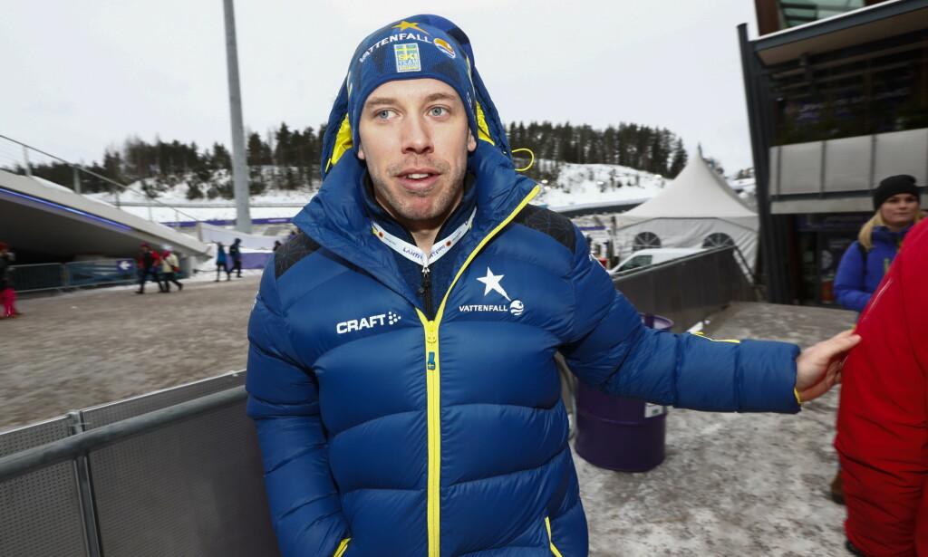 BLODPROPP: Emil Jönsson fikk blodpropp i foten i Åre. Det skal imidlertid ikke være alvorlig og svensken tar sikte på å gå verdenscupavslutningen. Foto: Terje Pedersen / NTB scanpix