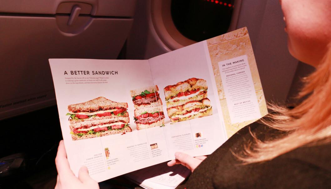 """<strong>MAT OMBORD:</strong> British Airways lover """"et bedre smørbrød"""". Det klarer de faktisk! Foto: Berit B. Njarga"""