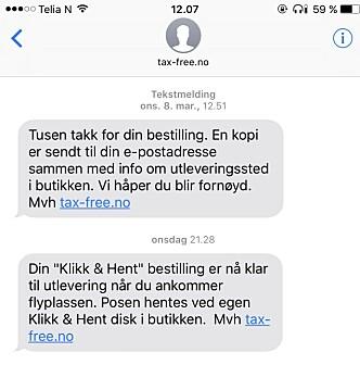 <strong>BEKREFTELSE:</strong> Du får en SMS både etter du har bestilt varene. DU får også en SMS når varene er ferdig pakket og klare til henting. Foto: Skjermdump.