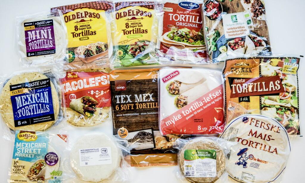 STORT UTVALG: Du fïnner stadig flere varianter at tortillalefser i butikkene. Vår test viser at du slett ikke behøver å velge de dyreste. First Price- lefsene vant vår test.