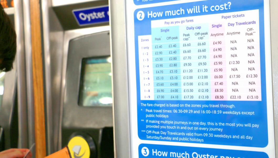 <strong>DETTE KOSTER DET:</strong> Du kan se priser på billetten med og uten Oyster, på stasjonen. Foto: Kristin Sørdal