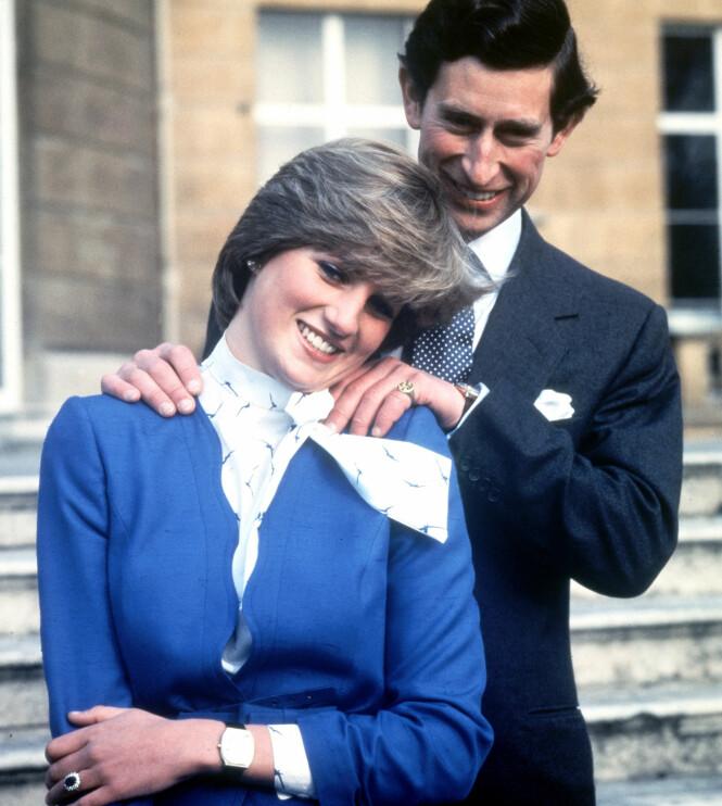 <strong>VANSKELIG FORHOLD:</strong> Prins Charles og Diana Spencer avbildet i februar 1981, da de offentliggjorde sin forlovelse. Foto: AP / NTB scanpix