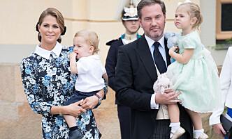 MANGE BARN: Prinsesse Madleine og Chris O'Neill med barna prins Nicolas og prinsesse Leonore. Foto: Splash News / NTB scanpix
