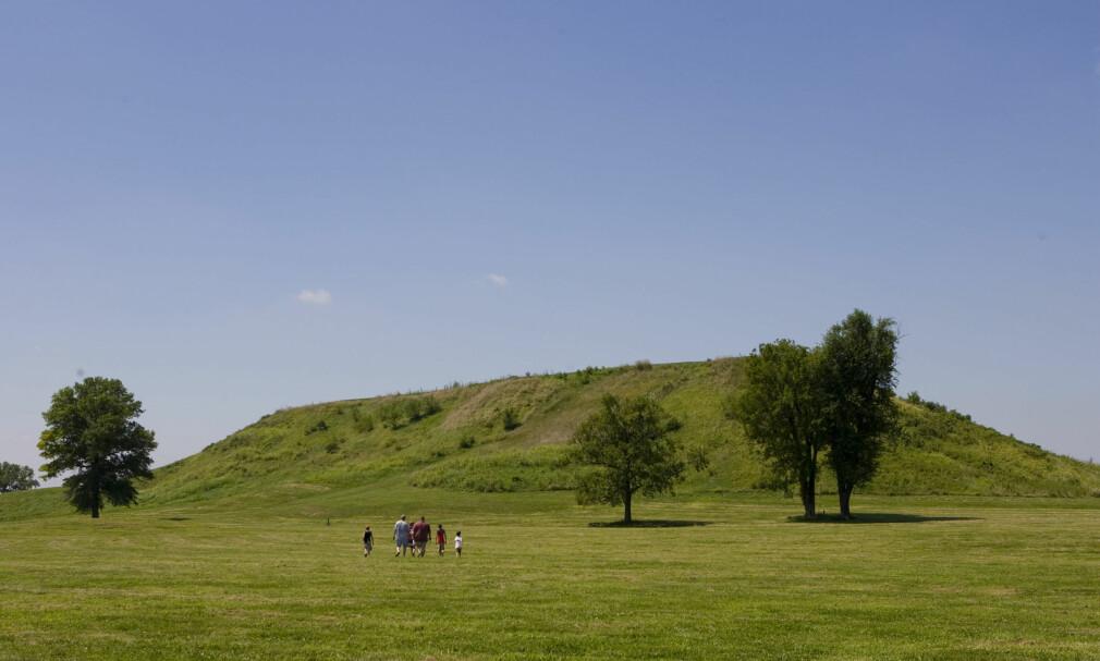 RESTENE: Disse haugene var det 120 av i gigantbyen Cahokia. De fungerte både som husly for de lokale lederne og som samlingspunkt for befolkningen. Rundt haugene bodde det tusenvis av mennesker, men plutselig forsvant de sporløst. Foto: NTB Scanpix