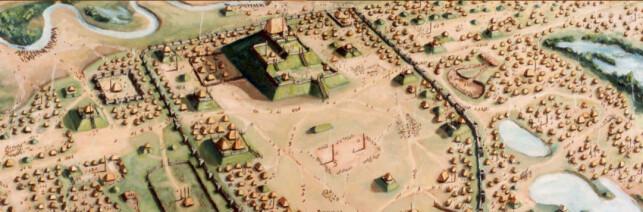 SLIK KAN DET HA SETT UT: I midten var pyramiden, der de lokale lederne bodde i toppen. Rundt var det tett bebyggelse. Illustrasjon: Cahokia Mounds State Historic Mounds