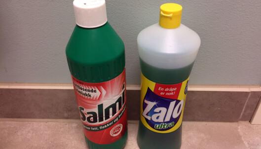 <strong>GOD MIKS:</strong> Salmiakk og Zalo kan godt blandes for å fjerne fett og smuss mer effektivt. Foto: Linn M. Rognø.