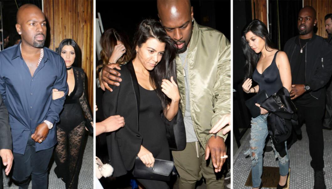 THE KARDASHIANS: Kim og Khloe syntes ikke noe om at storesøster Kourtney Kardashian og Kris Jenners kjæreste Corey Gamble hadde funnet tonen. Foto: NTB Scanpix