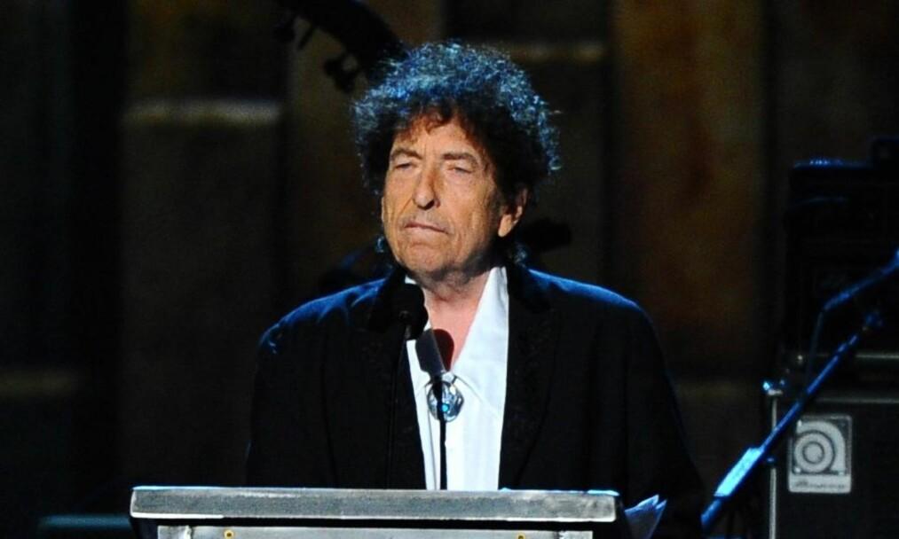 <strong>SUPERSTJERNE:</strong> Bob Dylan mottok endelig Nobel-prisen i litteratur denne helga. Det ønsket to svenske musikere å utnytte, noe de lykkes med. Foto: NTB Scanpix