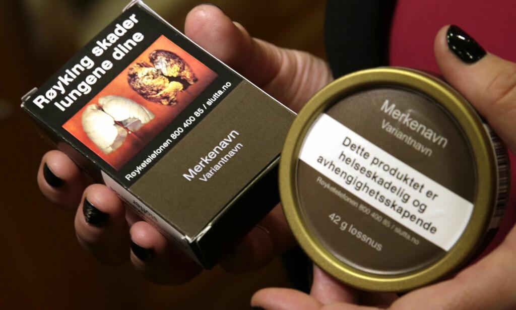 STANDARDISERT UTSEENDE: Slik vil snus og sigaretter se ut fra 1. juli, uavhengig av merke. Foto: NTB Scanpix