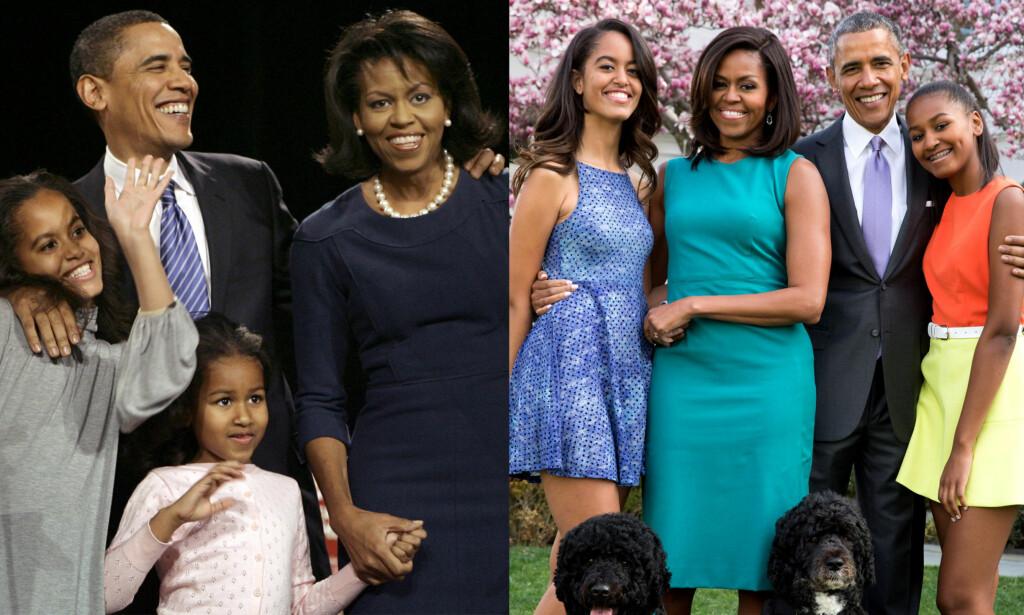 DA OG NÅ: Obama-familien har blitt eldre som alle andre. Bildet til venstre er fra 2008, noen måneder før Barack Obama vant presidentvalget. Bildet til høyre er tatt i fjor. Foto: NTB Scanpix