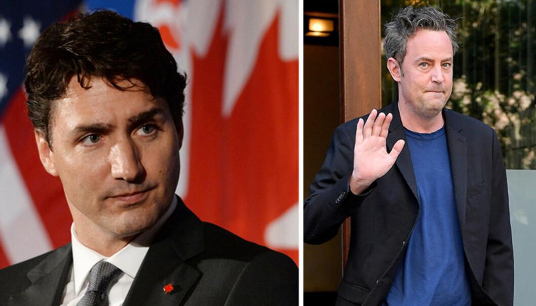 <strong>GÅR LANGT TILBAKE:</strong> Canadas statsminister Justin Trudeau og skuespiller Matthew Perry gikk på skole sammen i barndommen. Forrige måned avslørte sistnevnte at han var litt av en bølle mot Trudeau da de var barn. Foto: NTB Scanpix