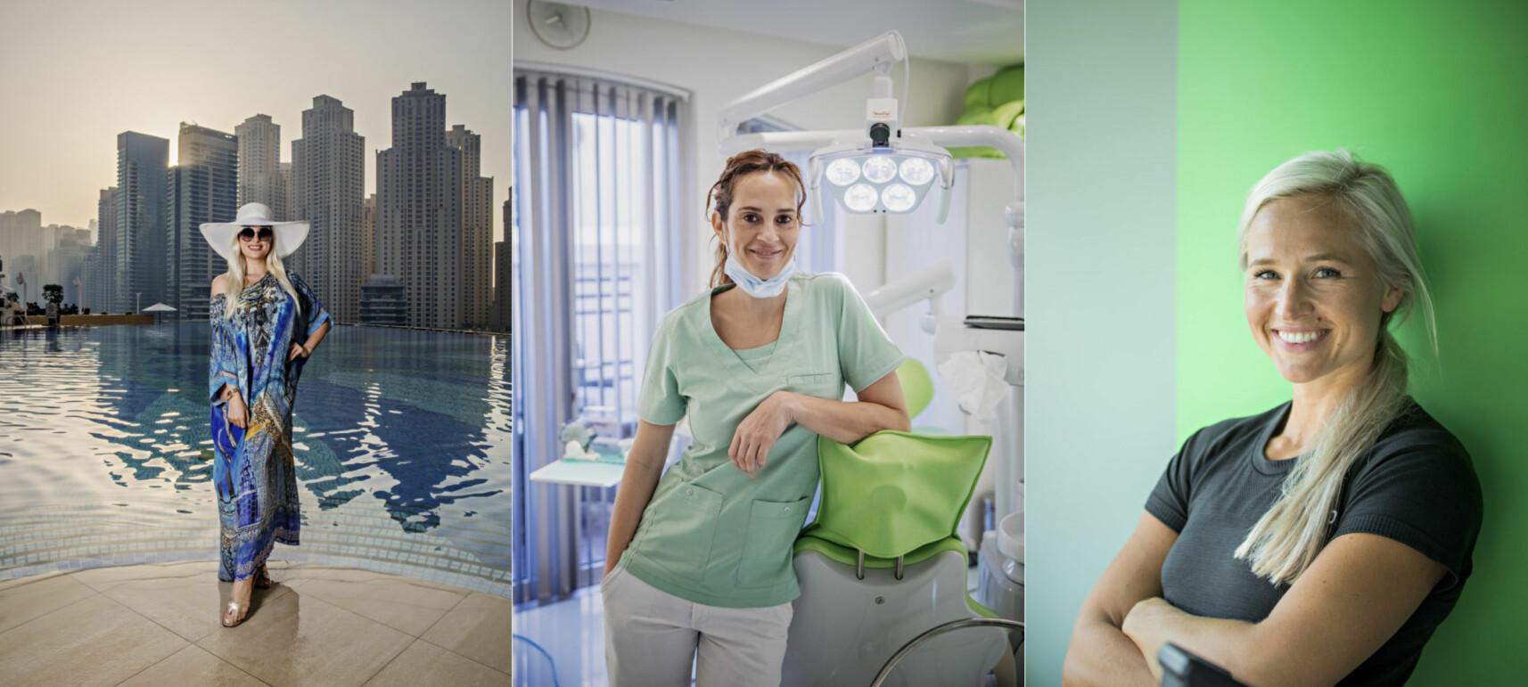 LUKSUS: Den ene selger eiendommer til flere millioner, den andre eier sin egen tann- og kosmetisk kirurgiklinikk, mens den tredje driver et eksklusivt treningsstudio og har flere tusen følgere på Instagram. Slik er livet i Dubai for Annette Rian Skjølberg, Kathrin Tynnes Trelles og Inger Houghton. Foto: Jørn H. Moen