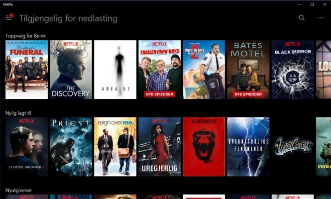 EGEN KATEGORI: Filmer og serier som kan lastes ned og ses uten nettilgang, er samlet i en egen kategori: Skjermdump: Dinside