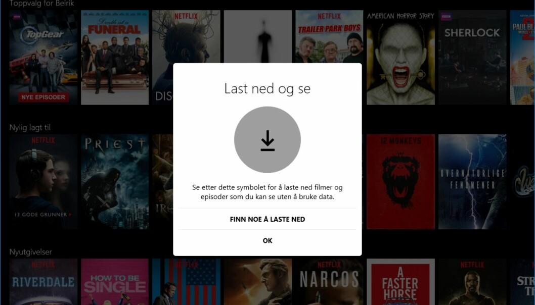 <strong>PÅSKEGODT:</strong> Nå kan du se Netflix-filmer og serier på PC-en, selv uten nettilgang i påskefjellet. Skjermdump: Dinside.no