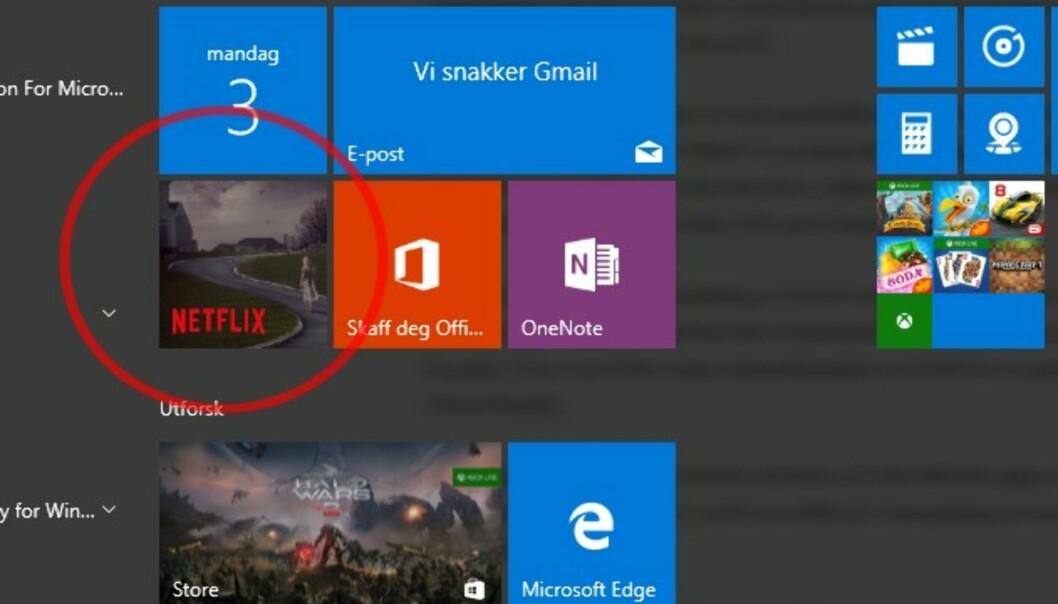 <strong>ALLEREDE PÅ PLASS:</strong> De fleste PC-ene som kjører Windows 10, har allerede Netflix-appen installert. Hvis du ikke finner den, kan du laste den ned fra Windows Store. Skjermdump: Dinside.no