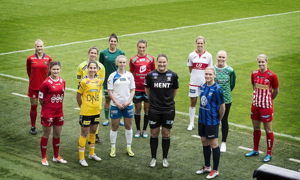 <strong>TOPPSERIE-KLARE:</strong> Ingrid Stenevik (Arna-Bjørnar), Elise Thorsnes (Avaldsnes) &nbsp;Tine Erichsen Engan (Grand Bodø), &nbsp;Maria Thorisdottir (Klepp), &nbsp;Nora Eide Lie (Kolbotn), &nbsp;Ingrid Moe Wold (LSK Kvinner), &nbsp;Megan Kufeld (Medkila), &nbsp;Lisa-Marie Karlseng Utland (Røa), Stine Hovland ( Sandviken), &nbsp;Ingvild Isaksen (Stabæk), Kristine Nøstmo (Trondheims-Ørn), &nbsp;Michele Betos (Vålerenga). Foto: Hans Arne Vedlog  / Dagbladet