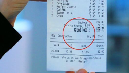 Ta en ekstra titt på regningen når du er i Storbritannia