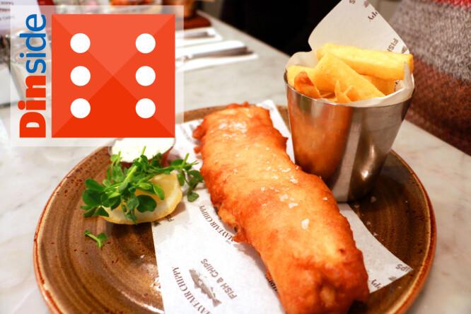 <strong>TERNINGKAST 6 TIL MAYFAIR CHIPPY:</strong> Smakfull fish and chips, delikat presentert, hyggelig servering og lyse lokaler. Hit går vi gjerne igjen! Foto: Hanna Sikkeland