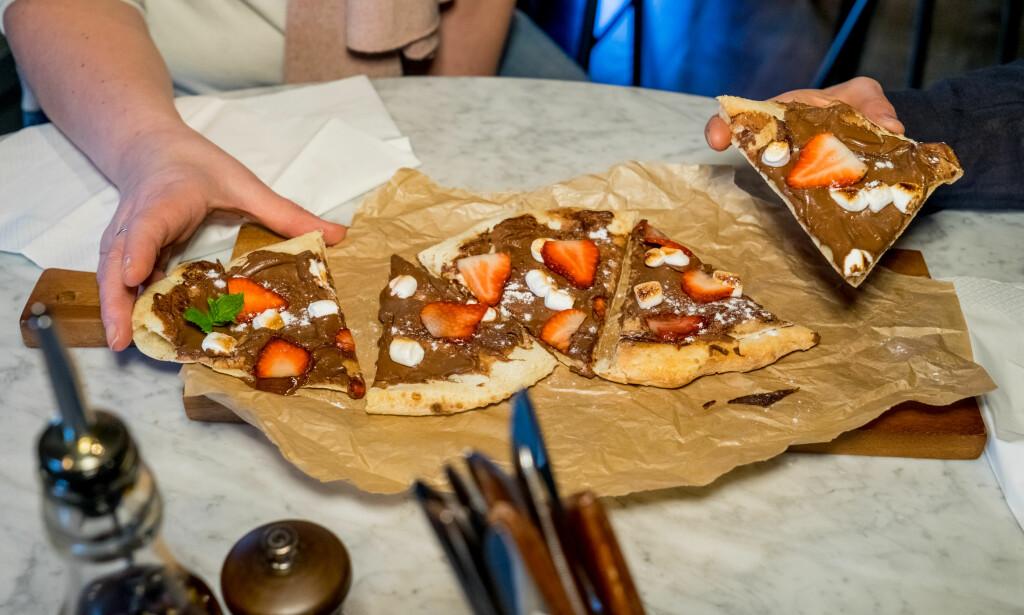 SJOKOLADEPIZZA, slik den serveres på Tipo pizzeria.