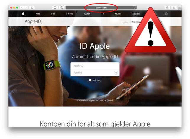 SJEKK ADRESSA: Etter å ha fulgt den falske lenka havnet man på denne falske Apple-ID-innloggingen. Ved å sjekke adressefeltet øverst ser man nok en gang at dette ikke er ekte saker. Foto: Eplehuset