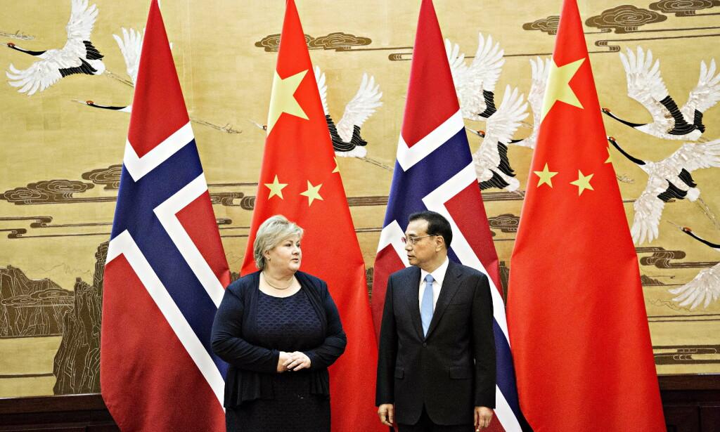 HAR ORDNET OPP: Statsminister Erna Solberg og kinas statsminister Li Keqiang. Norge og Kina gjenopptok i fjor et normalt forhold etter seks år. Foto: NIna Hansen