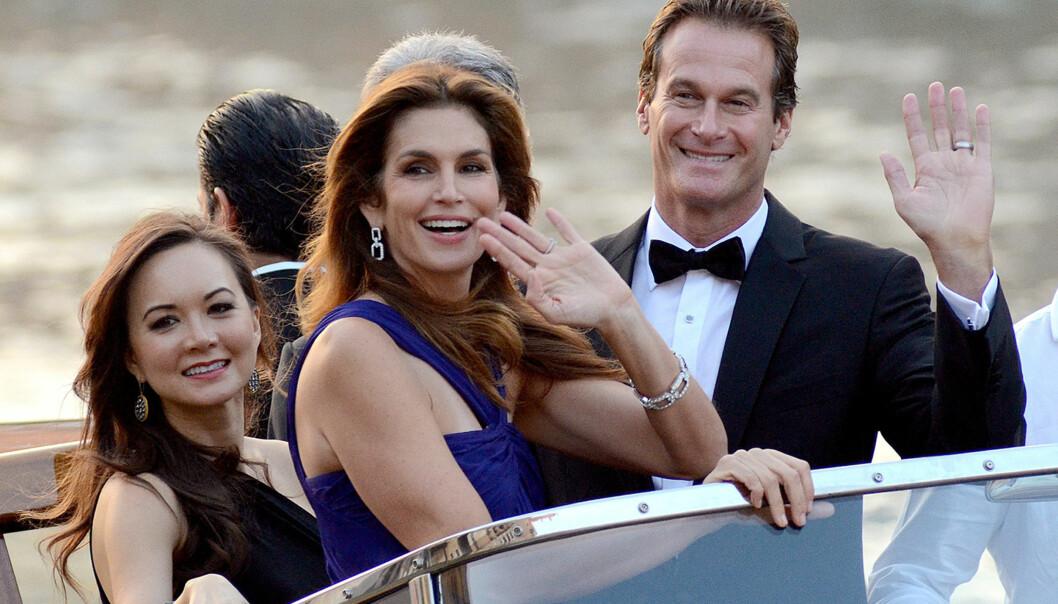 <strong>NÆRE VENNER:</strong> Cindy Crawford og Rande Gerber var blant gjestene da George og Amal Clooney giftet seg i Venezia 2014. Foto: NTB scanpix