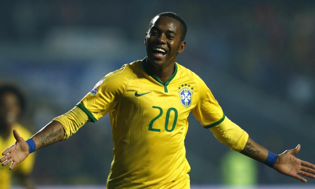 99 LANDSKAMPER: Robinho har fortsatt ikke gitt opp håpet om landskamp nummer 100.Han ble topscorer i den brasilianske ligaen i fjor med 25 scoringer. Foto: REUTERS/Mariana Bazo/NTB Scanpix