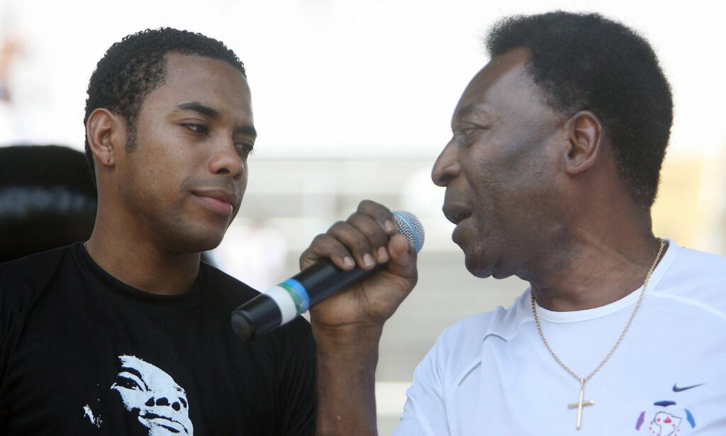 FIKK SKRYT: Robinho ble sammenliknet med Pelé. Foto: REUTERS/Alex Almeida/NTB Scanpix