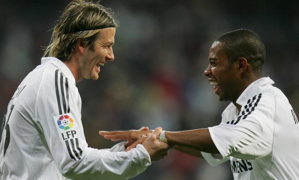 GODE VENNER: David Beckham og Robinho spilte sammen i Real Madrid. Foto: REUTERS/Susana Vera/NTB Scanpix