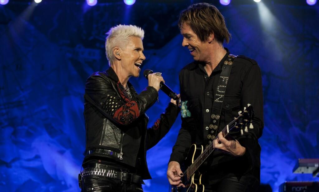 ROXETTE: Marie Fredriksson og Per Gessle under en konsert i Rio de Janeiro i Brasil i 2011. Foto: NTB Scanpix.