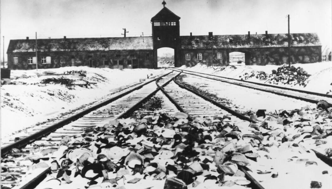 <strong>AUSCHWITZ:</strong> Dette bildet fra februar/mars 1945 viser inngangspartiet til konsentrasjonsleiren Auschwitz II-Birkenau. Foto: AP Photo / Stanislaw Mucha / NTB scanpix