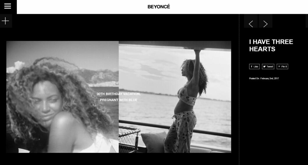 Foto:  Foto: Skjermdump Beyonce.com