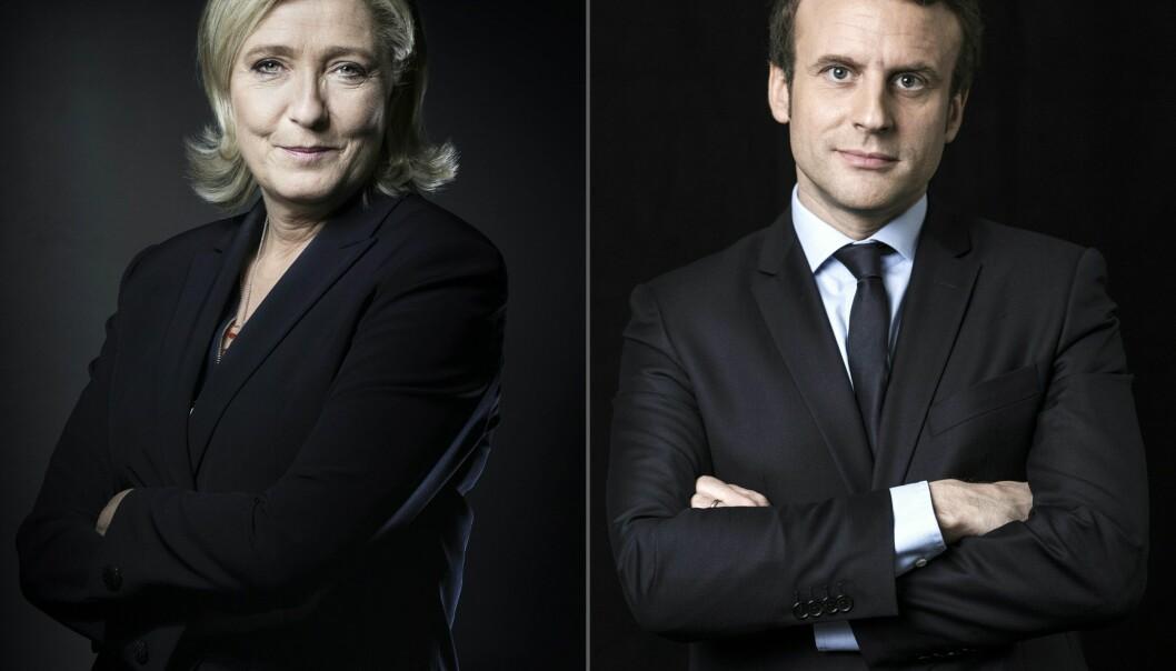 <strong>VALGET:</strong> Presidentkandidatene Marine Le Pen og Emmanuel Macron har fått flest stemmer i første valgrunde. Foto: AFP PHOTO / JOEL SAGET AND Eric FEFERBERG
