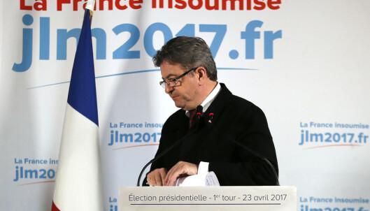 <strong>SKUFFET:</strong> Venstrepopulisten Jean-Luc Mélenchon var tydelig skuffet etter søndagens valg, og nektet å vise støtte til verken Macron eller Le Pen. Foto: AP Photo/Francois Mori